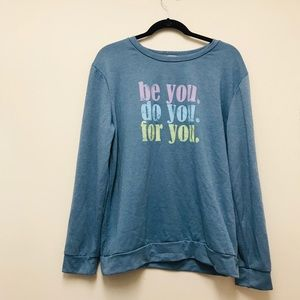 AJ Amelia James crew neck blue graphic sweater XL